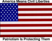 [ America Means Civil Liberties / Patriotism is Protecting Them / www.aclu.org/safeandfree ]
